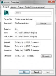 حجم فایل 3ds max